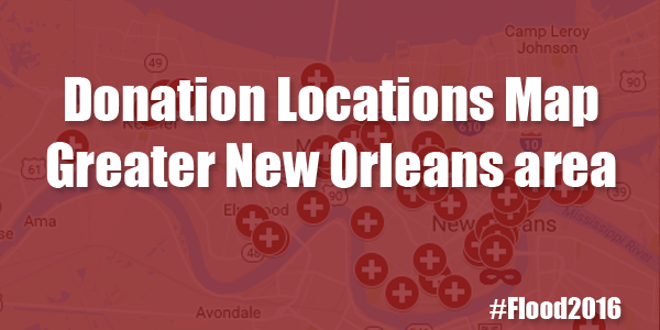 #Flood2016 Donation Locations Map